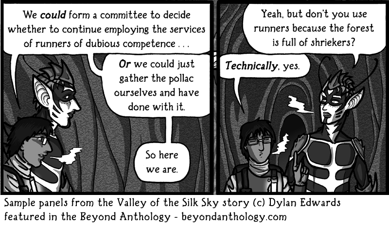 Valley of the Silk Sky Beyond Anthology sample panels