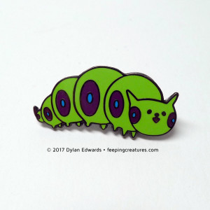 Feeping Creatures Caterpillar enamel pin
