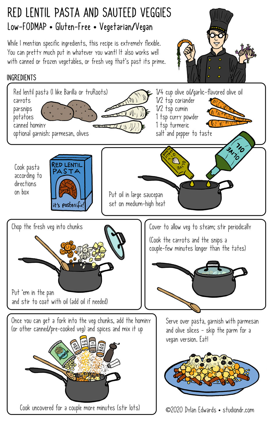 Recipe comic - red lentil pasta with sauteed vegetables